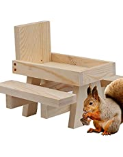 Squirrel Picnic Table Feeder, Cute Hanging Mini Picnic Table for Squirrels and Chipmunk with Corn Cob Holder, DIY Color, Good Squirrel Gifts for Squirrel Lovers