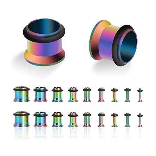 18PCS Ear Gauge Tunnels Kit - 14G-00G Stainless Steel Plugs Stretching Set Single Flared Expanders Body Piercing Jewelry - Plugs Body Jewelry 10g