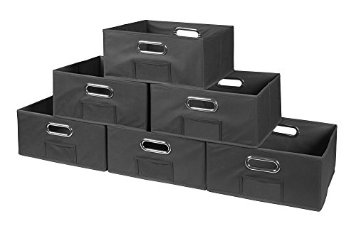 Niche Cubo Half-Size Foldable Fabric Storage Bins (Set of 6), Grey Fabric Folding Bin
