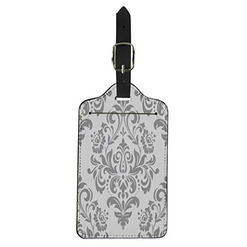 Semtomn Luggage Tag Pattern in the of Baroque Damask Gray and White Suitcase Baggage Label Travel Tag Labels ()