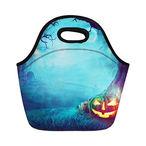 Semtomn Lunch Tote Bag Blue Spooky Halloween Pumpkin in Dark Forest Graveyard Orange Reusable Neoprene Insulated Thermal Outdoor Picnic Lunchbox for Men -