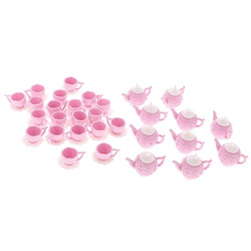 MonkeyJack 30Pcs Plastic Tea Pot Kettle Cup Set 1:12 Dolls House Dollhouse (Plastic Dollhouses)