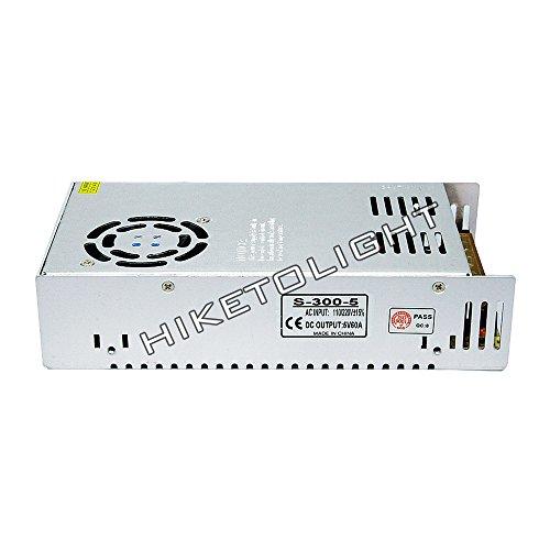 MOVINGTECH LED Power Supply DC Output 5V 60A 300W Aluminum Box Universal Regulated Switching Adaptor Transformer Driver AC Input 110/220V for 5V LED Strip Module ()