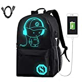 Laptop Backpack Anti-Theft College Backpack with USB Charging Port Luminous Backpack Travel Backpack Casual Daypack for Womens and Mens