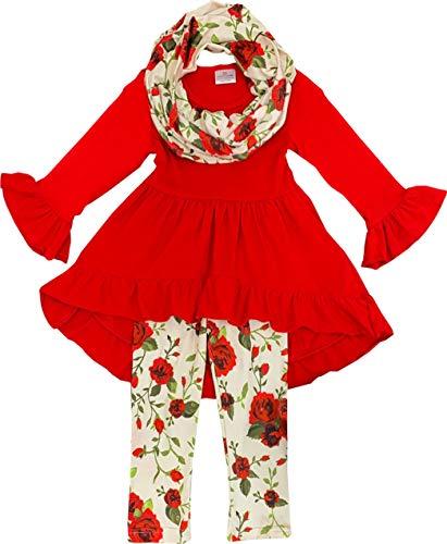 Toddler Little Girls Spring Valentine's Day Roses Hi-Low Tunic Legging Scarf Set 12-18M /2XS