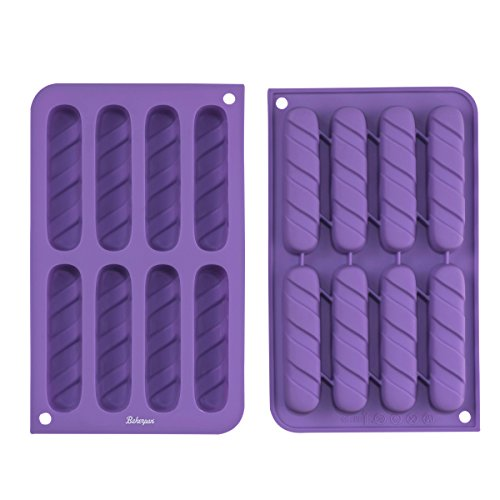 Bakerpan Silicone Fancy Biscuit Stick Baking Tray, Cookie and Chocolate Mold, 8 Cavities - Set of 2