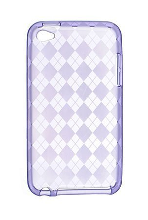 Luxmo CSTH4PPCK Crystal Skin Case Purple Checker fits iPod Touch 4