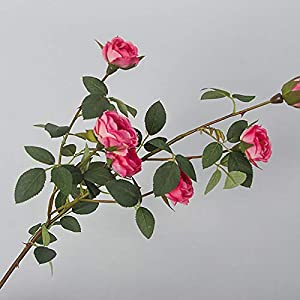 SELLBINDING Artificial Fake Flowers Tiny Rose Flowers Wedding Bridal Bouquet Home Decoration 6 Heads 60cm 101