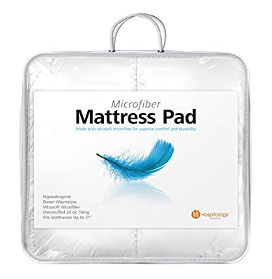 HOSPITOLOGY PRODUCTS Heavenly Microfiber Goose Down Alternative Overstuffed Hypoallergenic Mattress Pad/Topper