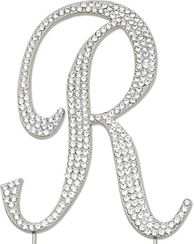 (Sparkly Rhinestones Letter R Cake Topper, Birthday Wedding Anniversary Silver Initial R)