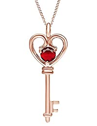 Simulated Ruby Heart Key Pendant Necklace In Rose Gold Over Brass (0.6 Cttw)