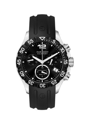 Claude Bernard Women's 10209 3 NIN Aquarider Black Chronograph Rotating Bezel Rubber Watch