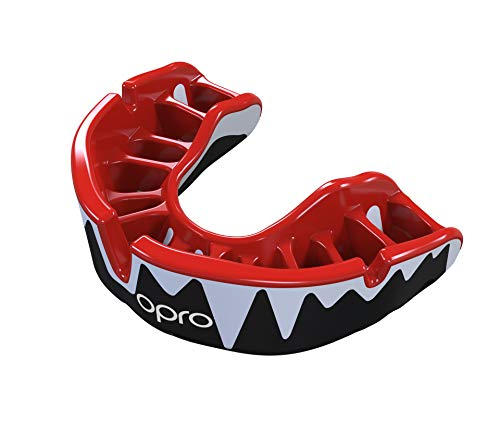 OPRO Platinum Level Mouthguard | Gum Shield for Rugby, Hockey, Boxing, and Other Contact Sports - 18 Month Dental Warranty (Ages 10+) (Black/Red/White)