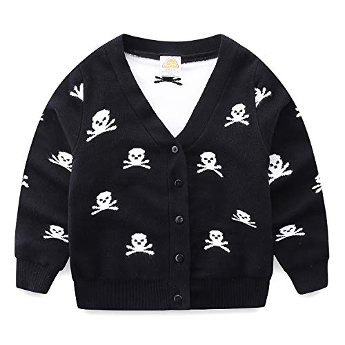 Mud Kingdom Toddler Boy Cardigan Sweater Skull 4T Black ()