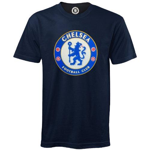 Chelsea Football Club Official Soccer Gift Mens Crest T-Shirt Navy Medium ()