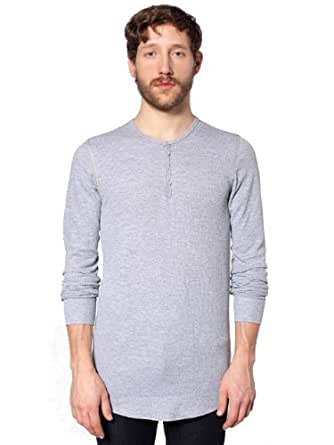 American Apparel Men Baby Thermal Henley Long Sleeve T-Shirt Size XXS Heather