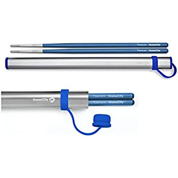 Chopsticks, 1 Pair of Titanium Chopsticks Ultra Lightweight Professional (Ti), Super Strong Healthy and Eco-Friendly 1 Pair of Chopsticks Comes with Free Aluminium Case (Blue)
