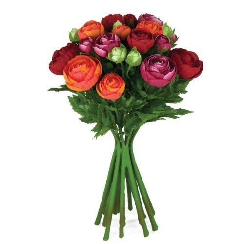 FloristryWarehouse Artificial silk flowers Ranunculus arrangement Red Orange Cerise Pink 15 stems 13 inches
