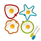 Fried Egg Mold,KATOOM 4pcs Different Shapes Silicone Egg Pancake Make Moulds with Handle for Breakfast Griddle Pan Kitchen Tool