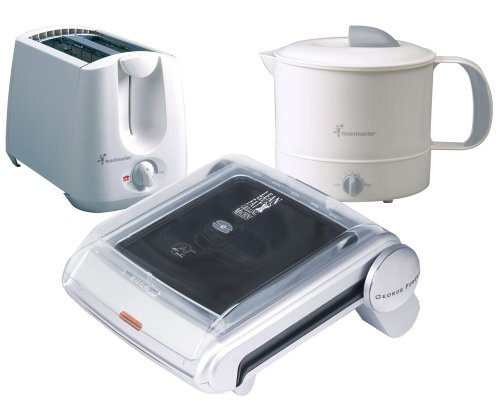 George Foreman GR19BWHPT Back-to-School Pack, with Grill, Hot Pot, and Toaster For Sale