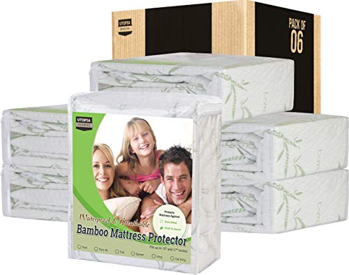 Utopia Bedding Waterproof Bamboo Mattress Protector Pack of 6 (King)