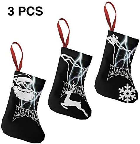 クリスマスの日の靴下 (ソックス3個)クリスマスデコレーションソックス Metallica クリスマス、ハロウィン 家庭用、ショッピングモール用、お祝いの雰囲気を加える 人気を高める、販売、プロモーション、年次式