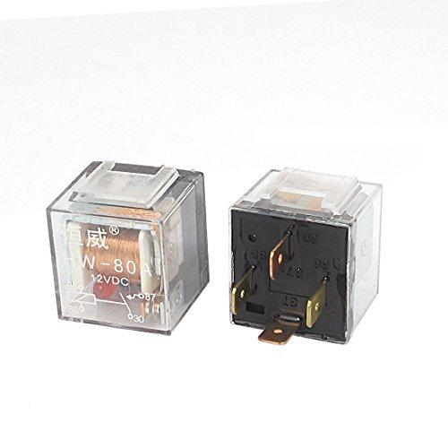 Circuiti eDealMax auto controllo della vettura Spia rossa SPST 4 pin connettore di alimentazione a rel CC 12V 80A 2PCS