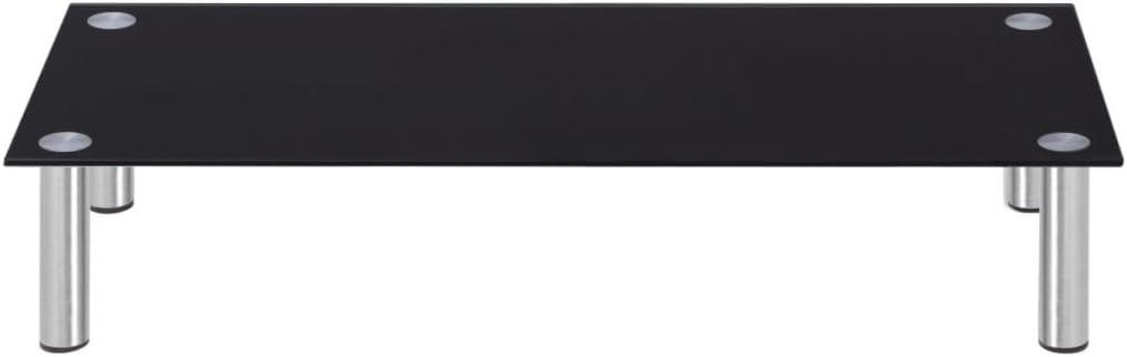 Color de Negro Material de Cristal y Acero 100x35x17 cm Festnight Elevador de Monitor//Soporte de TV
