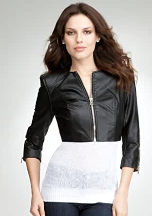 BB Cropped Zipper Leatherette Total Outerwear Blk-xs