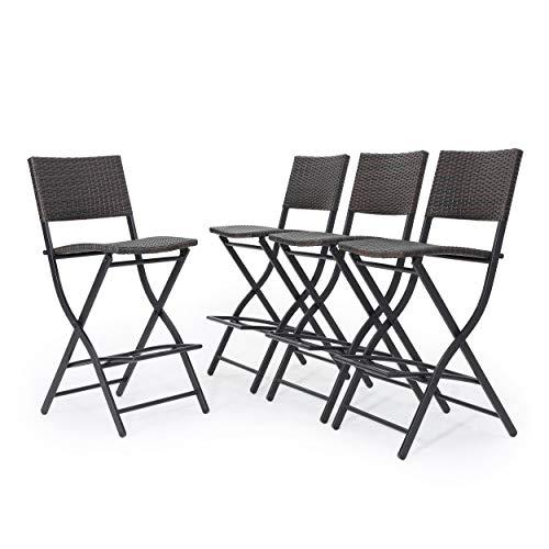 Set of 4 GDF Studio 300304 Marinelli Outdoor Multibrown Wicker Barstools