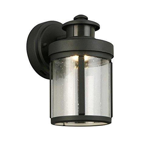 (Hampton Bay Black Motion Sensor Outdoor Integrated LED Small Wall Mount Lantern )