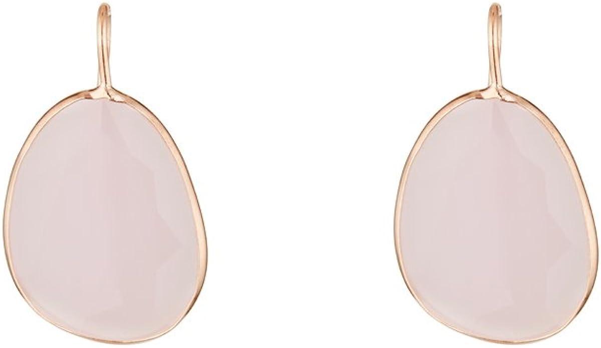 Córdoba Jewels | Pendientes en plata de ley 925 bañados en oro rosa con piedra semipreciosa. Diseño Luxury Mini Gota Rosa de Francia Rose Gold