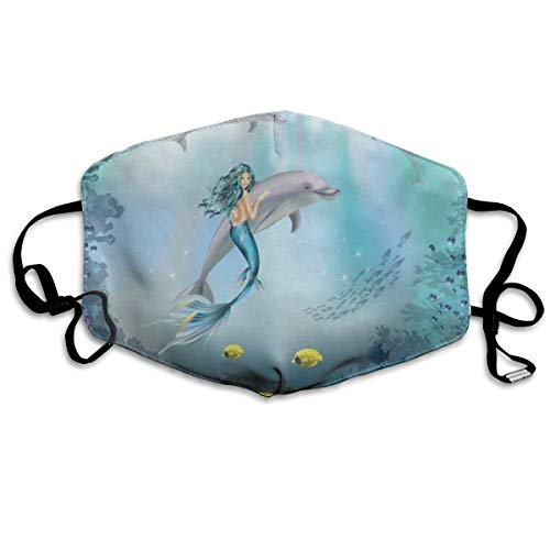 ZHOUSUN Dustproof Washable Reusable Underwater Dolphins and Mermaid Mouth Cover Mask Respirator Germ Protective Safety Warm Windproof Mask