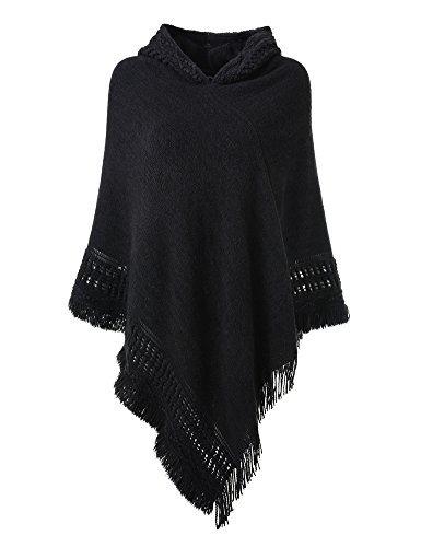 Ferand Ladies' Hooded Cape with Fringed Hem, Crochet Poncho Knitting Patterns for Women, Black