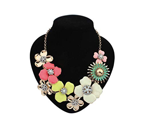 Toto Beau Floral Statement Necklace Chunky Bold Flower Colorful Fashion Costume -