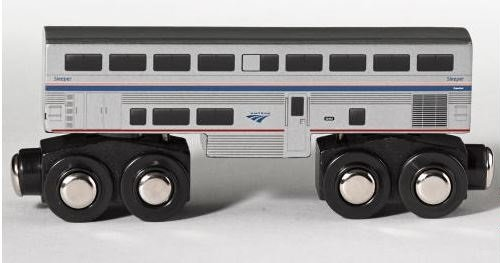 Wooden Amtrak Sleeper Train Superliner Sleeping Car 4.25 inch Compatible with other Railroads Amtrak Train Cars