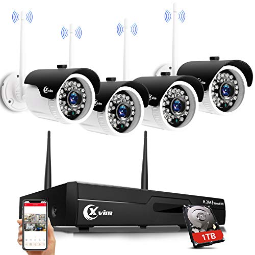 XVIM H.264 Wireless Security Cameras System, 4CH 1080P HD NVR 4pcs 720P Wireless Outdoor Indoor Waterproof Surveillance Cameras 85FT Night Vision with 1TB HDD
