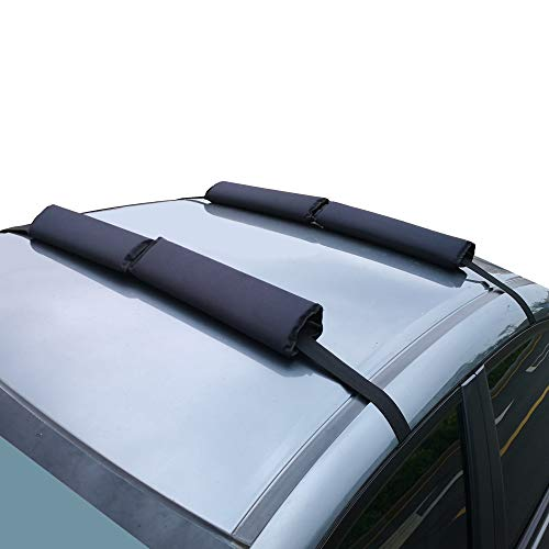 (RORAIMA Adjustable No Slide UV Protect Fabric Heavy Duty Areo Car Roof Rack Pads for Crossbar When Hauling Kayak/Canoe/Surf Board/SUP/Snow Board Ski Board/Knee Board Size 17