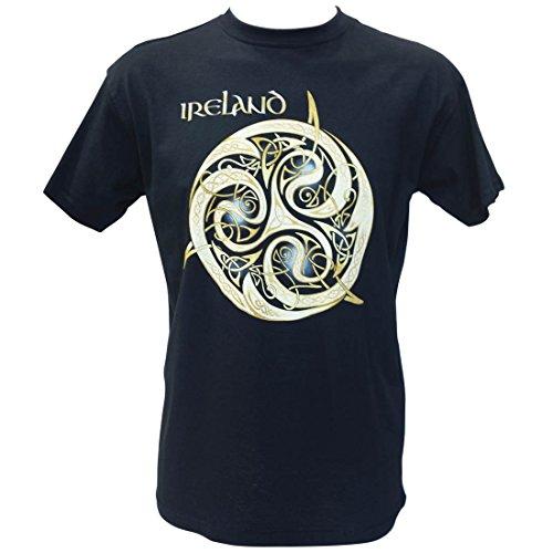 - Navy Round Neck T-Shirt Celtic Spiral Design Ireland Text