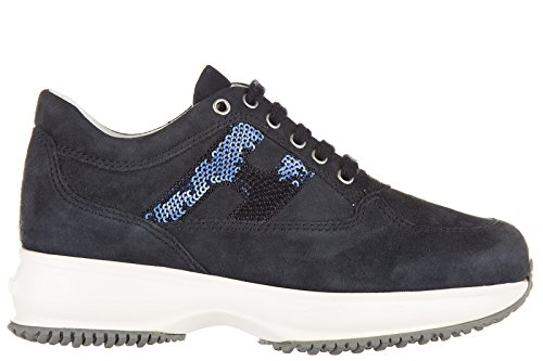 Hogan scarpe sneakers bambina camoscio nuove interactive micropaillettes blu