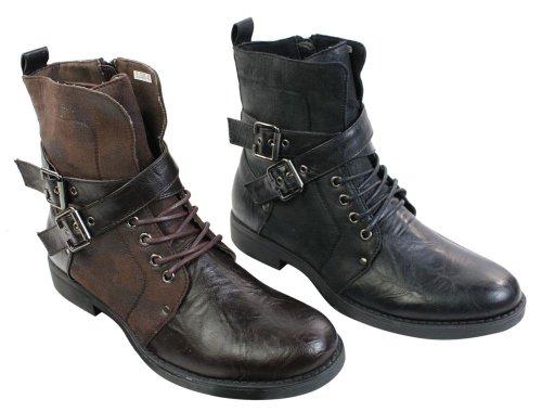 Bottines hommes punk rock gothique emo en cuir marron ou noir avec boucles  Amazon.fr Chaussures et Sacs