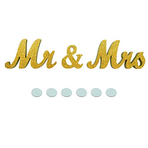 JZHY Mr & Mrs Sign Wedding Sweetheart Table Decorations, Decorative Letters for Photo Frame Home Decoration and Wall Décor (Gold)