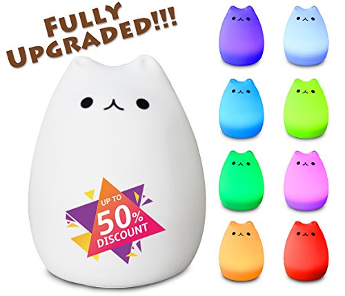 X-CHENG night light - 3-Modes Portable Silicone LED Night Lamp - 8 single colors mode and 8-color breathing light mode - adorable animals' appearance - USB charging - best nightlight for baby by X-CHENG