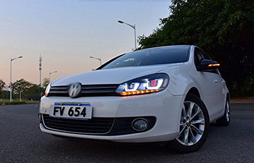 GOWE Car Styling ForVW Golf 6 Headlights 2010-2013 Golf6 mk6 LED Headlight Angel Eye LED DRL Bi Xenon Lens Parking Fog Lamp Color Temperature:8000k;Wattage:35w 1