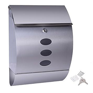 Edelstahl Briefkasten Postkasten Mailbox Letterbox mit Zeitungsrolle Postbrief