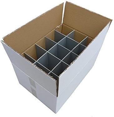Cajas de cartón cristalería - 2 unidades | Cristalería de transporte | Fuerte - caja de cartón de pared doble | Caja de la cristalería | 15 células | Vidrio o artículo
