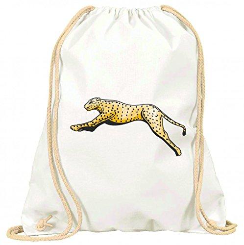 Turnbeutel Tiger Leopard springt springen Raubtier Wildnis mit Kordel - 100% Baumwolle- Gymbag- Rucksack- Sportbeutel Weiß AirXrr