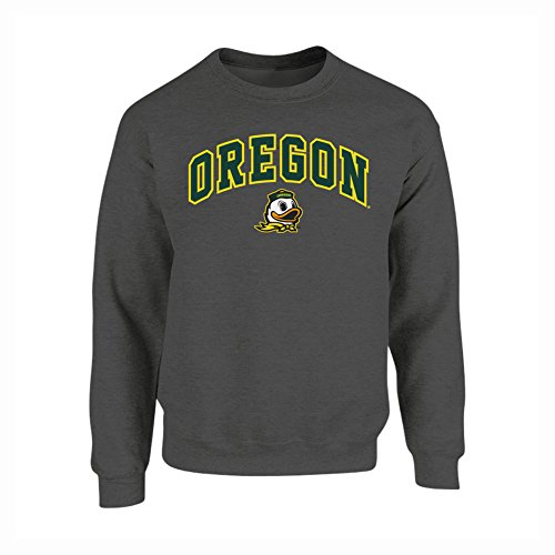 Oregon Crew Sweatshirt - Elite Fan Shop NCAA Men's Oregon Ducks Crewneck Sweatshirt Dark Heather Arch Oregon Ducks Dark Heather Large