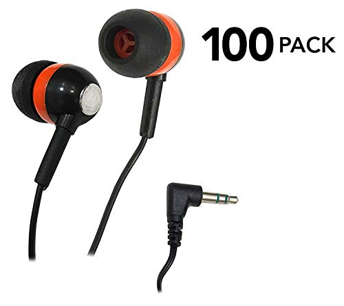 SmithOutlet 100 Pack Orange/Black/Chrome Bulk Earbuds Silicone Tip Headphones