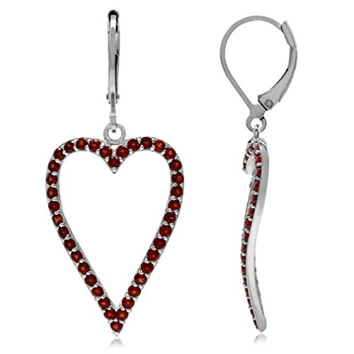 (3.8ct. Natural Garnet White Gold Plated 925 Sterling Silver Heart Leverback Dangle Earrings)